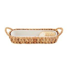 Mud Pie Hyacinth Basket With Stoneware Cracker Dish Set