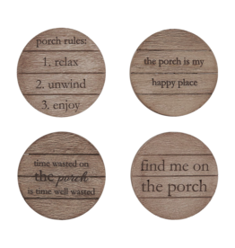 Mud Pie Wood Porch Coasters Set of 4 Assorted Sayings