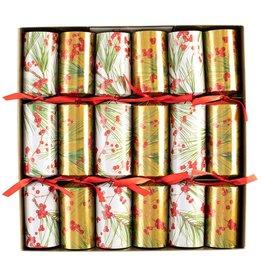 Caspari Celebration Crackers 6pk Berries And Pine