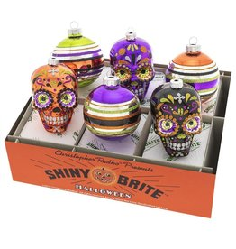 Christopher Radko Shiny Brite Halloween Decorated Rounds And Skulls