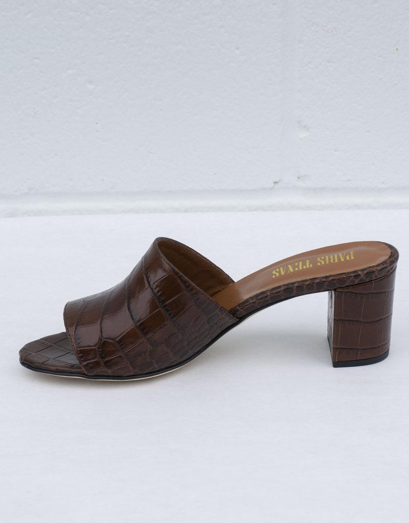 Paris Texas Chocolate Croc Mules