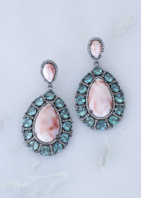 The Woods Fine Jewelry Coral and Apatite Earrings