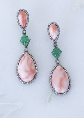 The Woods Fine Jewelry Coral, Emerald and Diamond Earrings