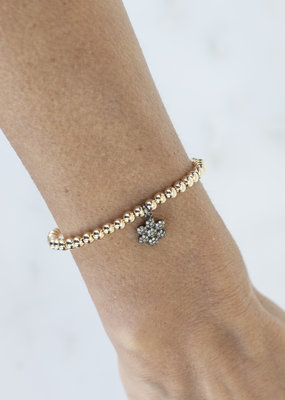 EKDesigns Gold Beads with Pave Flower