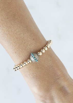 EKDesigns Gold Beads with Pave and Turquoise Ball