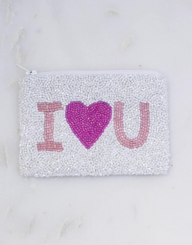 Beaded Coin Purse - White I Heart You