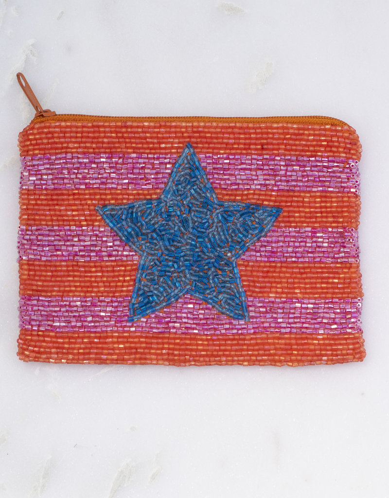 Beaded Coin Purse - Stripes with Star