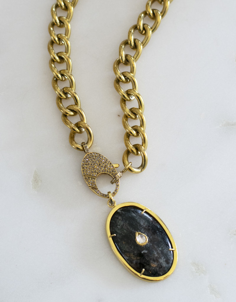 The Woods Fine Jewelry Brass and Jasper Pendant with Diamond