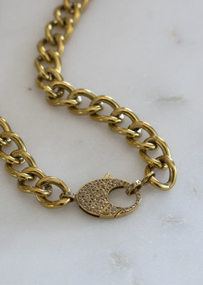 The Woods Fine Jewelry Brass Chain with Diamond Clasp