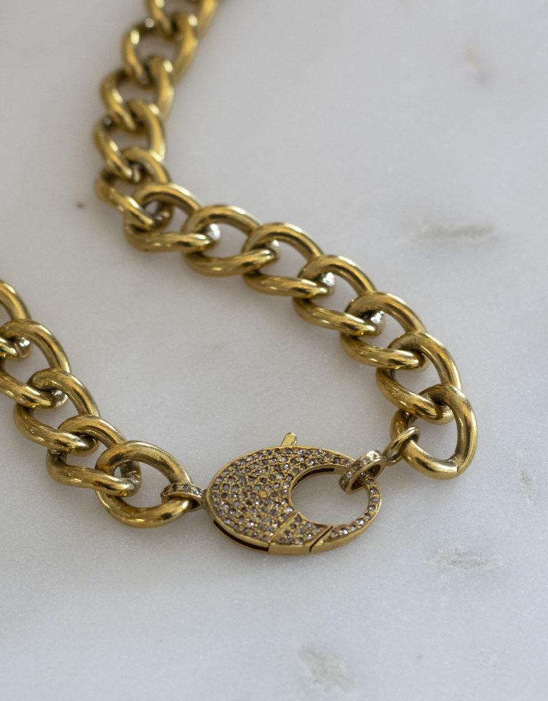 The Woods Fine Jewelry Brass Chain with Diamond Clasp