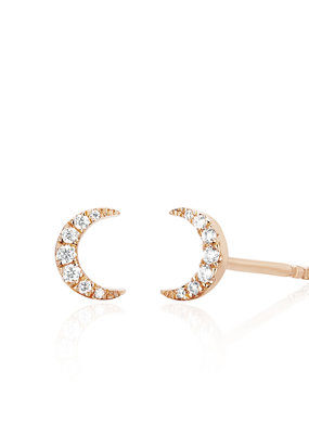 EF Collection Single Mini Diamond Moon Stud