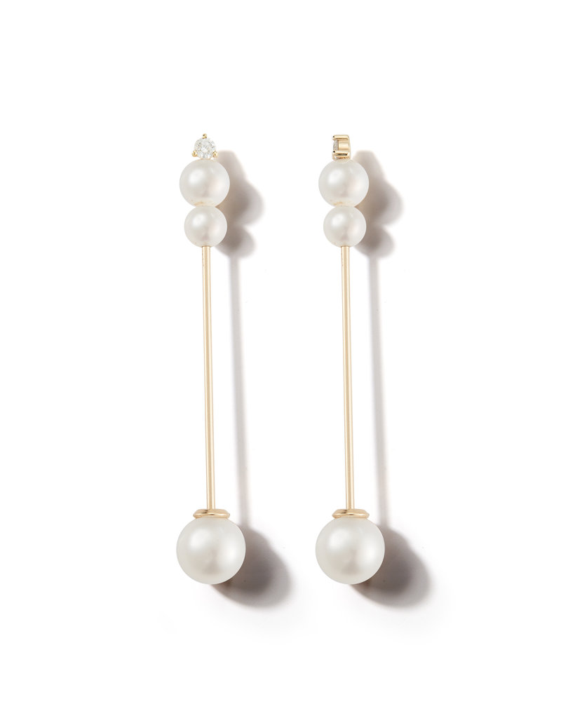 Mizuki Pearl and Diamond Stick Drop Earring