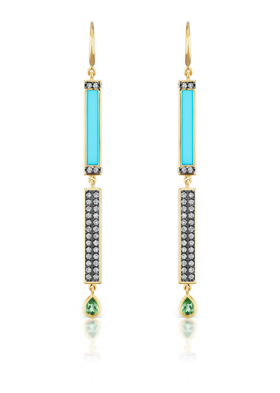 Sorellina Pave and Turquoise Stick Earrings