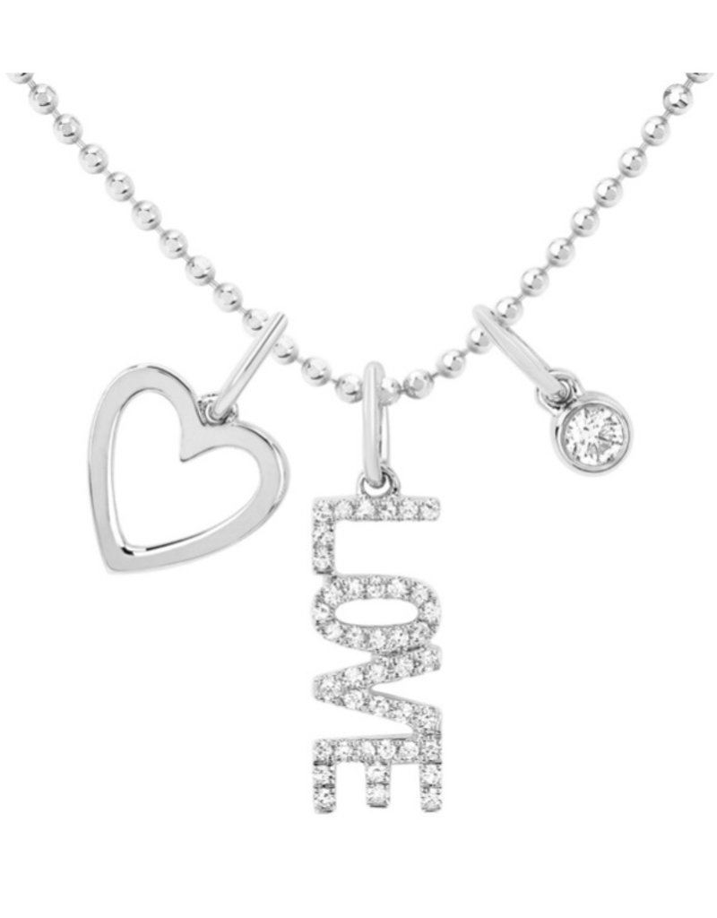 EF Collection Diamond Love Charm Necklace