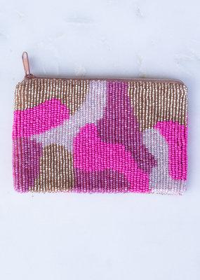 Beaded Coin Purse - Pink Camo