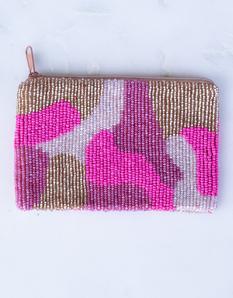 Beaded Coin Purse - Pink Camo