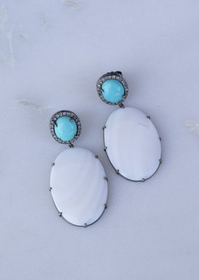 The Woods Fine Jewelry Turquoise and Moonstone Earrings