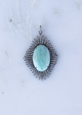 The Woods Fine Jewelry Pave and Larimar Pendant
