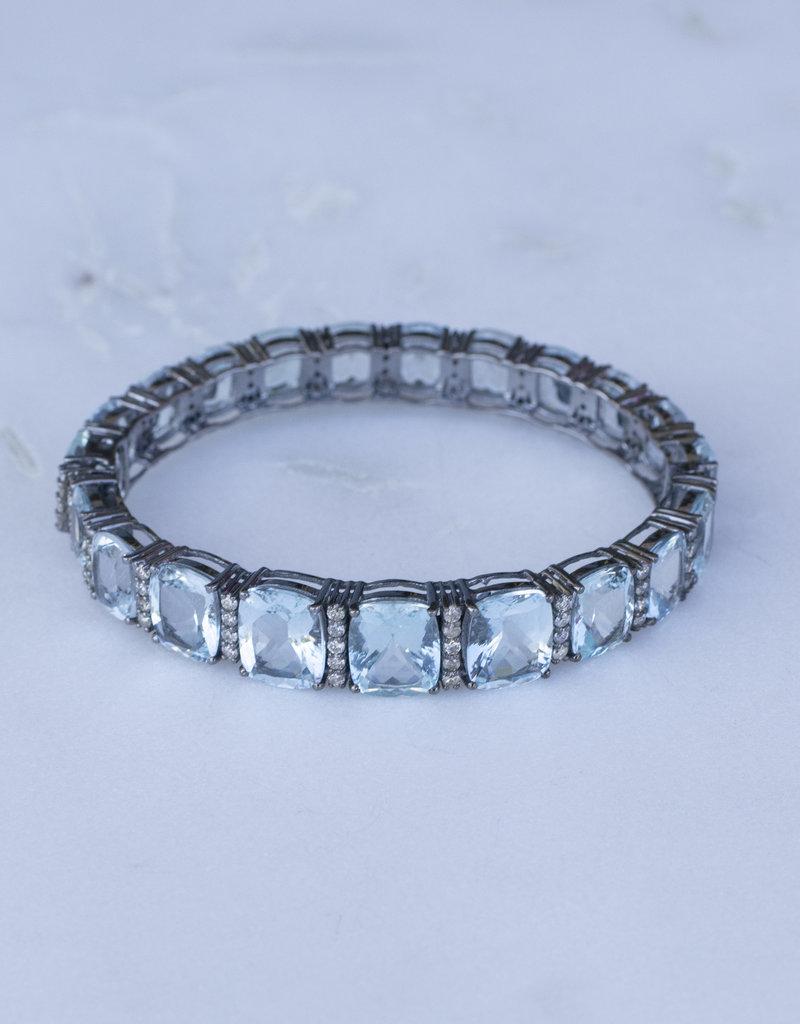 The Woods Fine Jewelry Aquamarine and Diamond Bangle