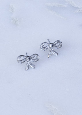 The Woods Fine Jewelry Silver Pave Bow Earrings