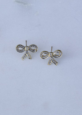 The Woods Fine Jewelry Brass Pave Bow Earrings