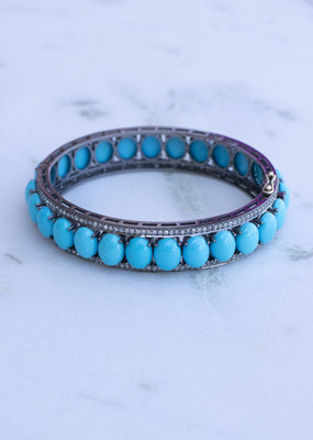 The Woods Fine Jewelry Turquoise and Diamond Bangle