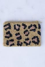 Beaded Coin Purse - Leopard Print