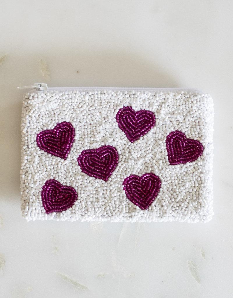 Beaded Coin Purse - Mini Hearts
