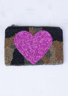 Beaded Coin Purse - Heart on Camo