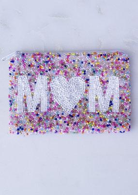 Beaded Coin Purse - Heart Mom