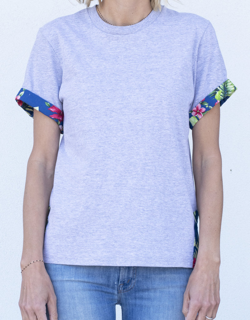 Harvey Faircloth Floral Cuff Tee