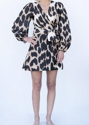 Ganni Leopard Wrap Dress