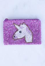 Beaded Coin Purse - Pink Unicorn