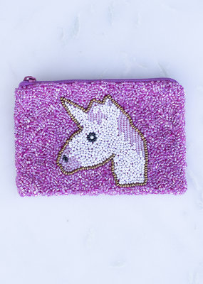 Beaded Coin Purse - Pink Unicorn