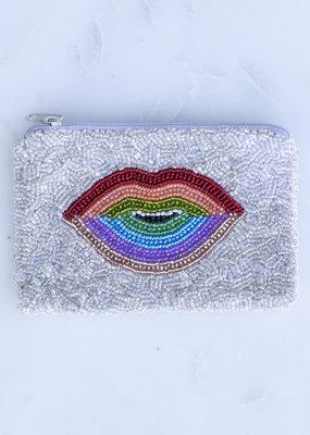 Beaded Coin Purse - Rainbow Lips
