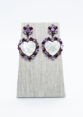 The Woods Fine Jewelry Mother of Pearl and Sapphire Earrings