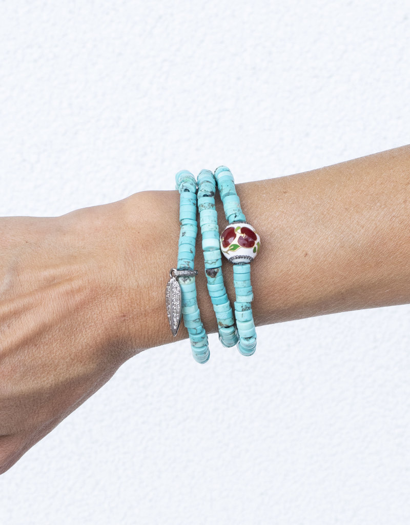 The Woods Fine Jewelry Turquoise with Enamel Flower Bead