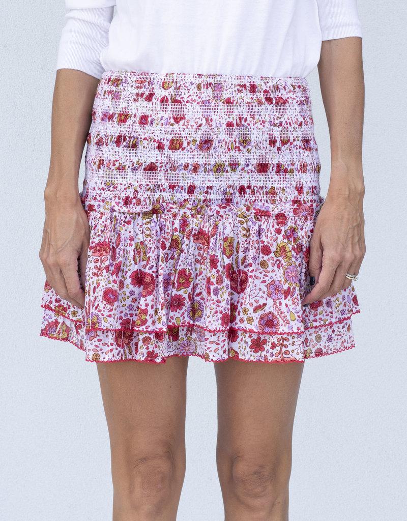 Poupette St. Barth Triny Smocked Skirt Pink Naif