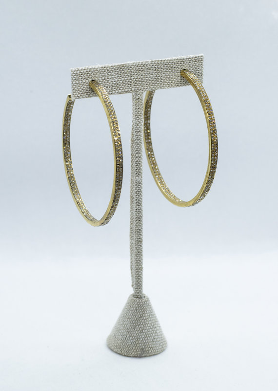The Woods Fine Jewelry Large Brass Hoops with Pave Diamonds