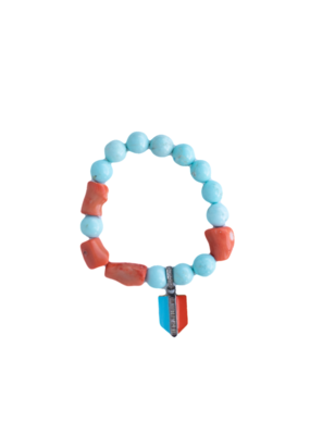 The Woods Fine Jewelry Howlite and Coral with Enamel charm