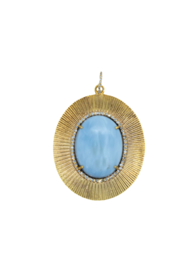 The Woods Fine Jewelry Larimar and Brass Pendant
