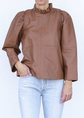 Sea NYC Lola Leather Ruffled Neck Top Caramel