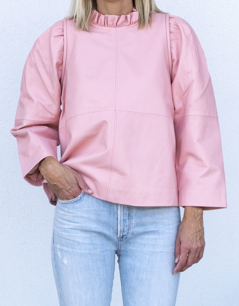 Sea NYC Lola Leather Ruffled Neck Top Pink