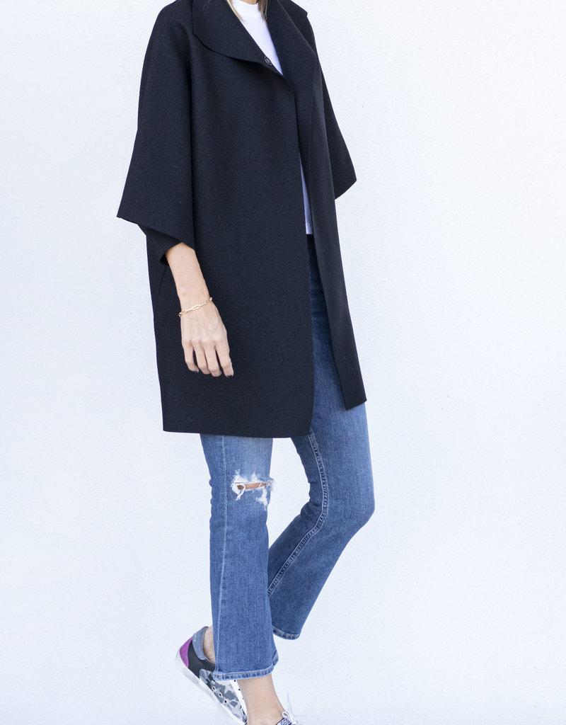Harris Wharf Kimono Wool Coat Black