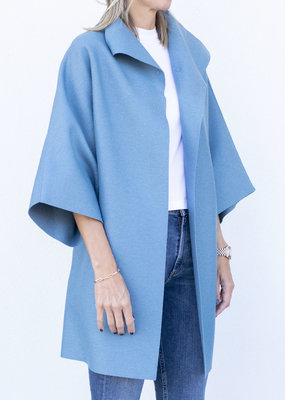 Harris Wharf Kimono Wool Coat Dusty Blue