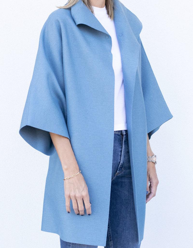 Harris Wharf Kimono Wool Coat Dusty Blue