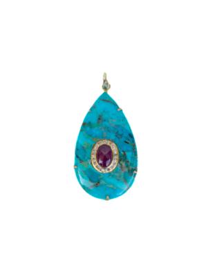 The Woods Fine Jewelry Turquoise Teardrop Pendant