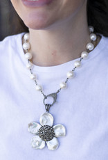 The Woods Fine Jewelry Large pearl chain with pave diamond clasp