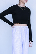 YAH Too Scalloped Crop Long Sleeve