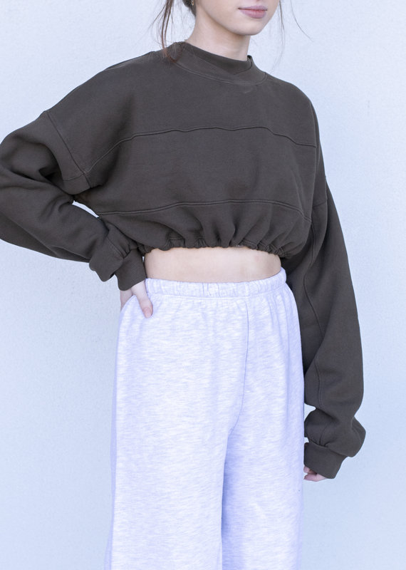 YAH Too Cropped Sweatshirt- Olive